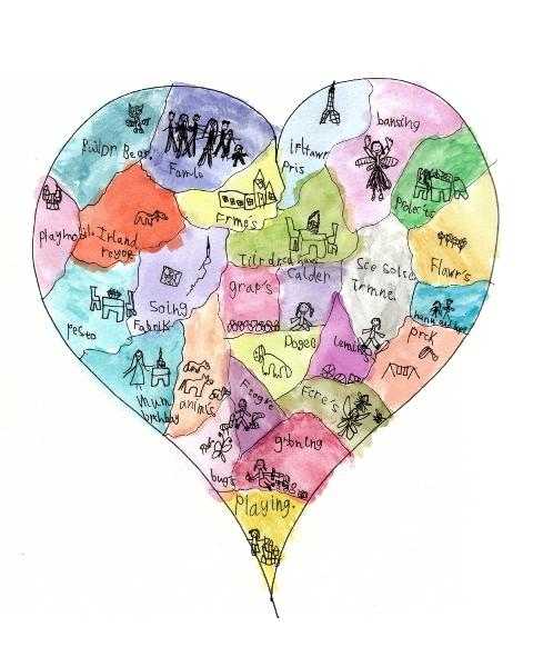 C's Heart Map Vivid Watercolors