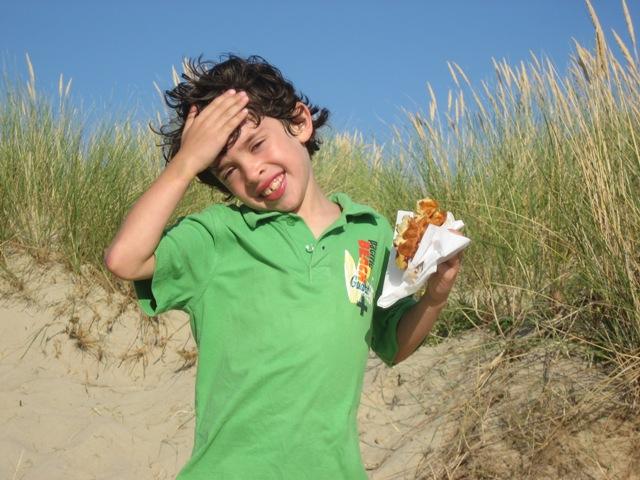 C enjoying a waffle