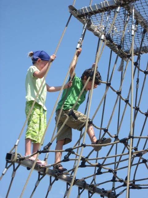Climbing up the ship