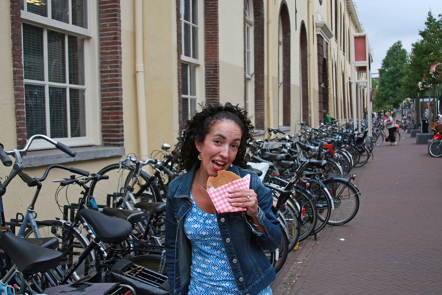 Eating a Stroopwafel
