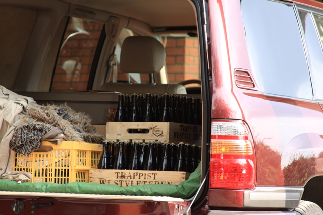 Loading the beer in the car