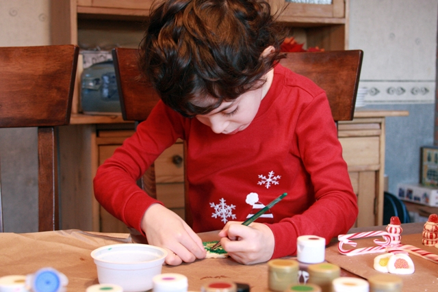 C painting his Xmas salt dough ornament
