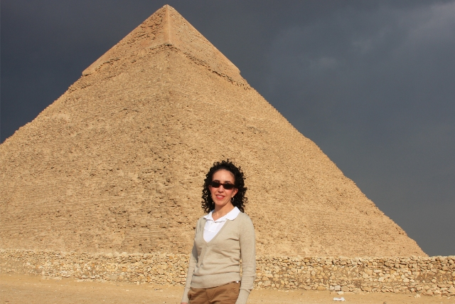 Standing in front of the Great Pyramid
