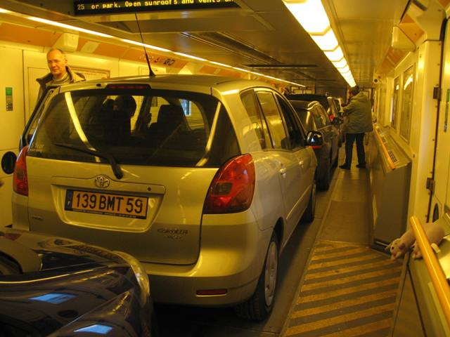 Cars in train compartment