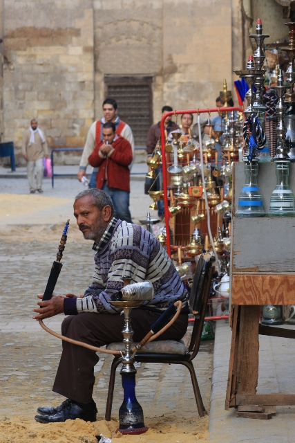 Man smoking at Khan el Khalili Market