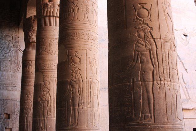 Close up of Hieroglyphics column