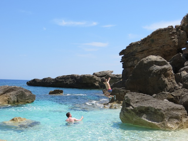 Jumping from Cala Biriola